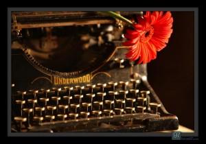 Typewriter with flower